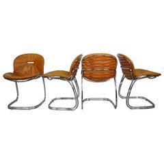 "Italian Design ""Sabrina"" Cognac Leather and Chrome Chairs by Gastone Rinaldi"