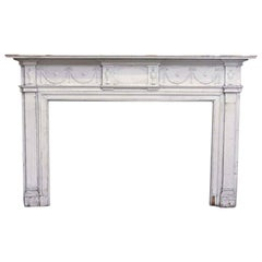 1900s Carved Wood Federal Mantel with Garland Design and White Crackle Paint