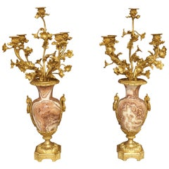 Pair of Late 19th Century French Bronze Doré Candelabras