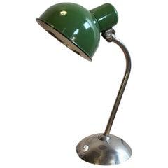 Vintage Industrial Green Enamel Desk Lamp, 1930s