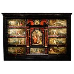17th Century Flemish Cabinet in Ebony, Tortoiseshell and Blackened Wood