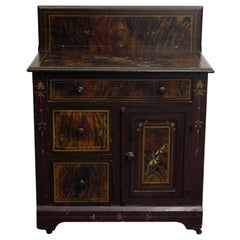 1880s Wooden Dark Tone Wash Stand with a Hand Painted Decorative Finish