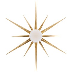 1 of 2 Starburst Brass and Glass Flush Mount in the Manner of Angelo Lelli