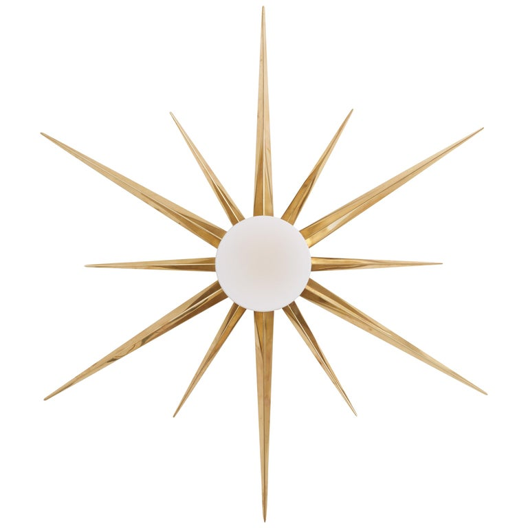 1 of 2 Starburst Brass and Glass Flush Mount in the Manner of Angelo Lelli 1