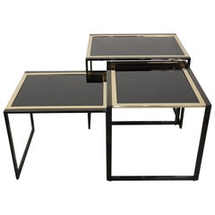 Black Lacquered Metal and Black Mirror Glass Nesting Tables Set