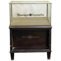 1920s Waterman's Wood and Glass Fountain Pen Showcase with Drawer and Shelf