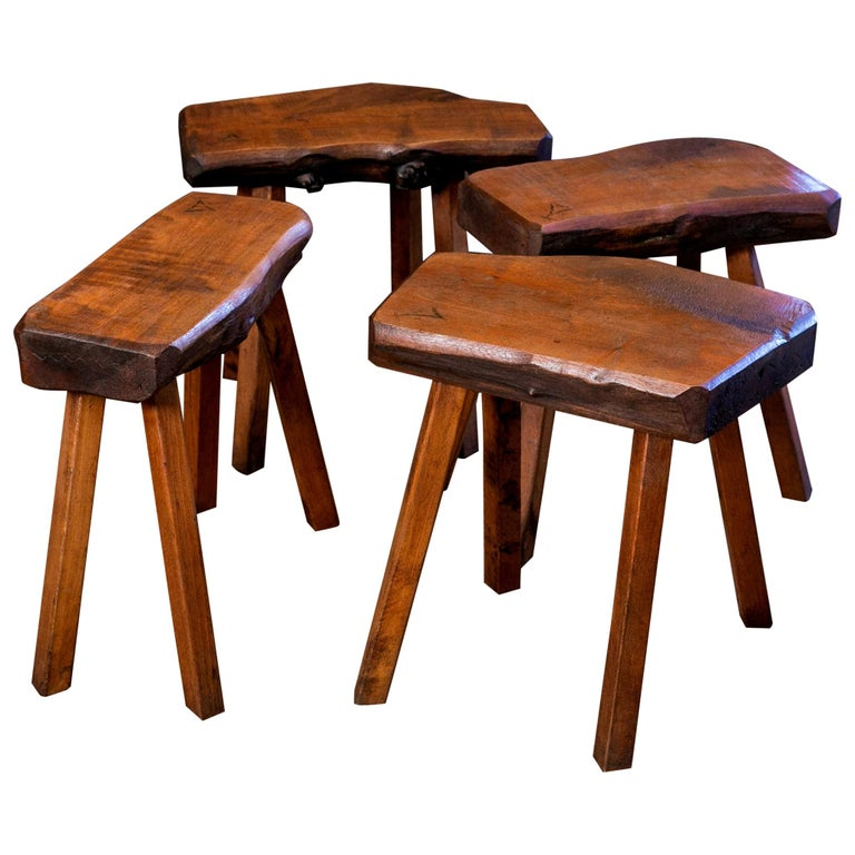 Handmade Collection of Oak Stools from Belgium with Live Edge For Sale