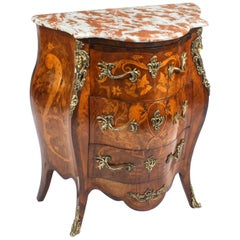 Antique French Walnut & Marquetry Commode Rouge Marble, 19th Century