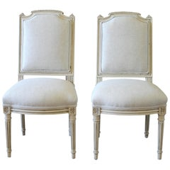 Early 20th Century Pair of Painted and Upholstered Louis XVI Style Childs Chairs