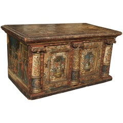 Rare 18th Century Painted Table Cabinet from Southern Germany