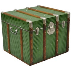 Vintage Wood Tin Metal Wrapped Green Faux Cane Rattan Wicker Chest Trunk Box