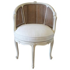 20th Century Louis Xv Style Swivel Vanity Chair With Cane