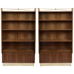 Pierluigi Spadolini Mid-Century Modern Walnut Libraries with Brass Details, Pair