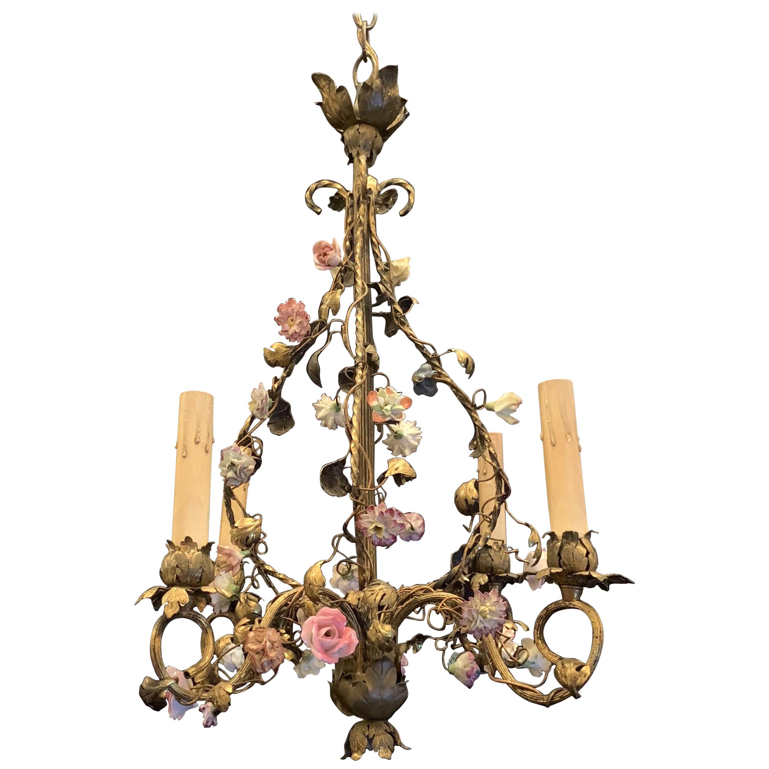 Wonderful French Bronze Porcelain Flower Four-Light Cage Basket Form Chandelier