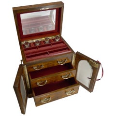 Fine Large Antique English Jewellery Box with Cut Crystal Perfume Bottles