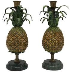 1980s Italian Tole Pineapple Sculpture Candlesticks, Pair