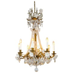 French Chandelier with Porcelain Roses