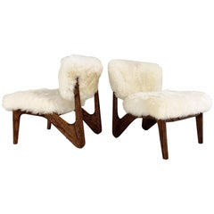 Adrian Pearsall Style Sculptural Chairs Restored in Brazilian Sheepskin, Pair