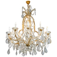 Italian Maria Theresa Eleven-Light Crystal Chandelier Mid-20th Century