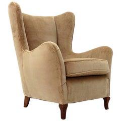 Italian Beige Velvet Armchair, 1950s