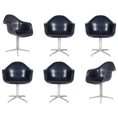 Six Deep Blue Fiberglass and Aluminium DAX Armchairs with La Fonda Legs by Eames