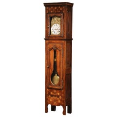 18th Century French Carved and Inlay Chestnut Grandfather Clock from Brittany