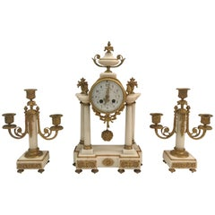 Louis XVI 19th Century Gilt Bronze Mantel Clock and Garniture Set