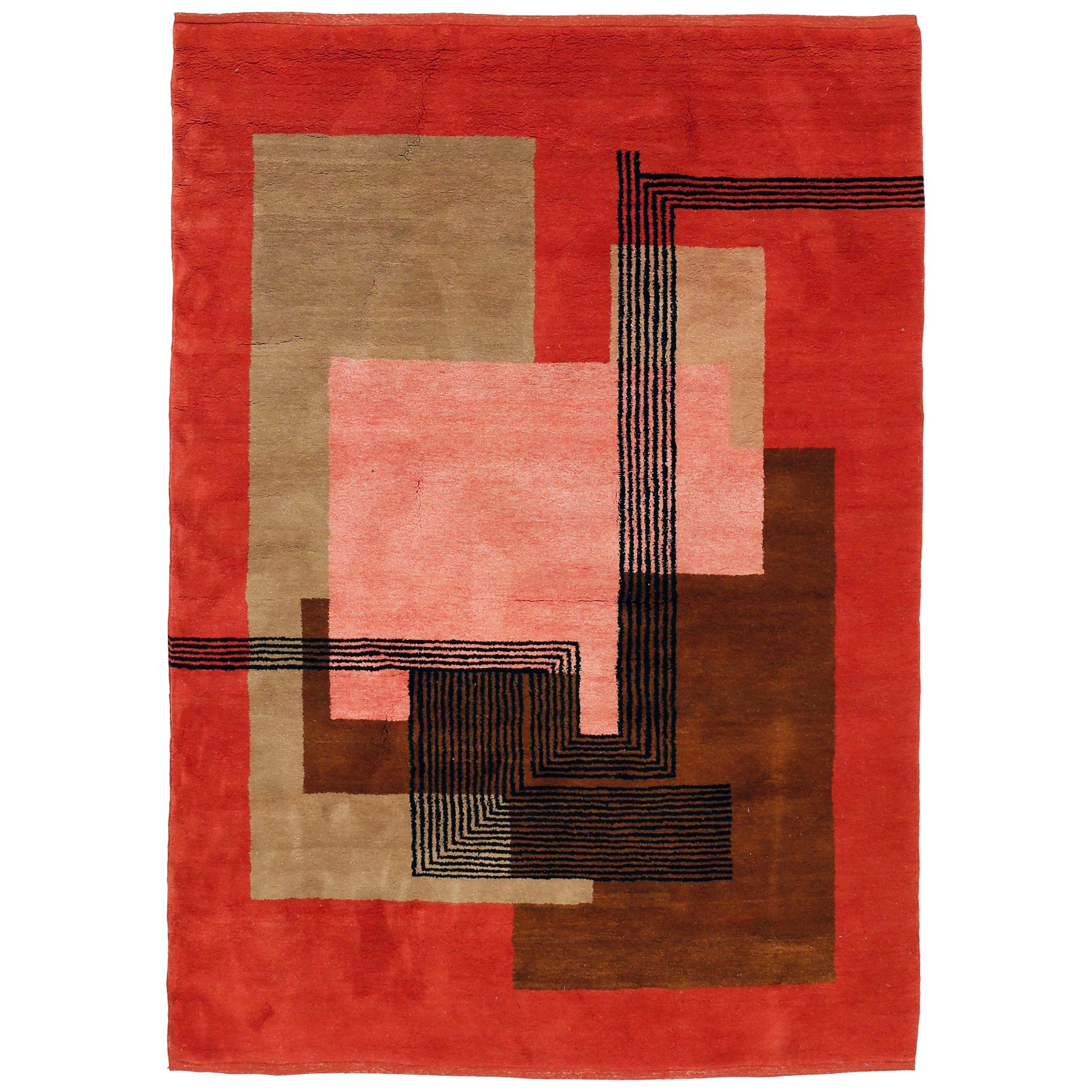 Vintage Art Deco Cubist Design Rug in the Style of Ivan da Silva Bruhns