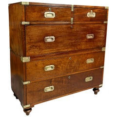 Early Victorian Mahogany And Brass Bound Campaign Chest