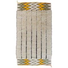 Midcentury Ivory/Black Scandinavian Modernist Rug