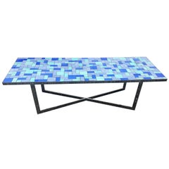 Large Coffee Table in Chromed Metal and Metallic Ceramics, circa 1970