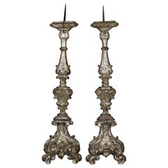 17th Century Italian Large Pair of Carved Silvered Wood Church Candelabras