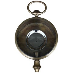 1960s Italian Brass 'Pocket-Watch' Style Indoor or Outdoor Wall Sconce