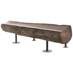 Raw Oak Bench with Bark