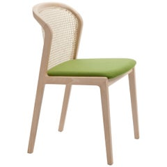 Vienna Chair by Colé, Modern Design in Wood and Straw, Green Upholstered Seat