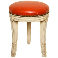 French Louis XVI Style Gray-Painted Stool