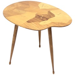 Swedish Palette Shaped Side Table with Inlay of Exotic Wood Types, 1950s