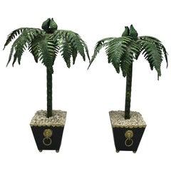 1970s Italian Tole Palm Tree Sculptures, Pair
