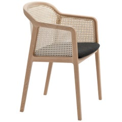 Vienna Armchair by Colé, Modern Design in Wood and Straw, Black Upholstered Seat