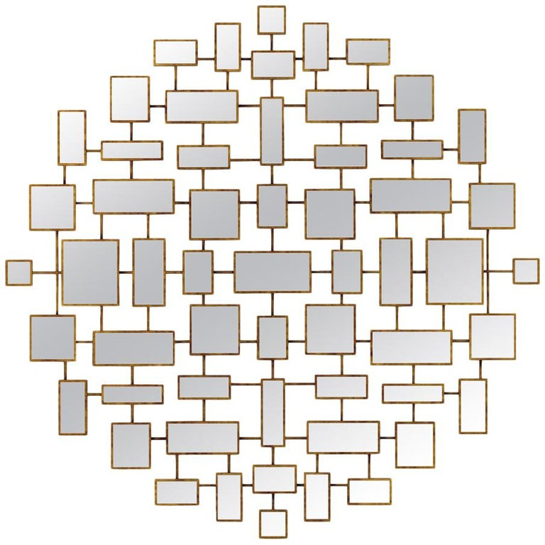 Multi Squares Mirror in Solid Mahogany in Antique Gold Finish