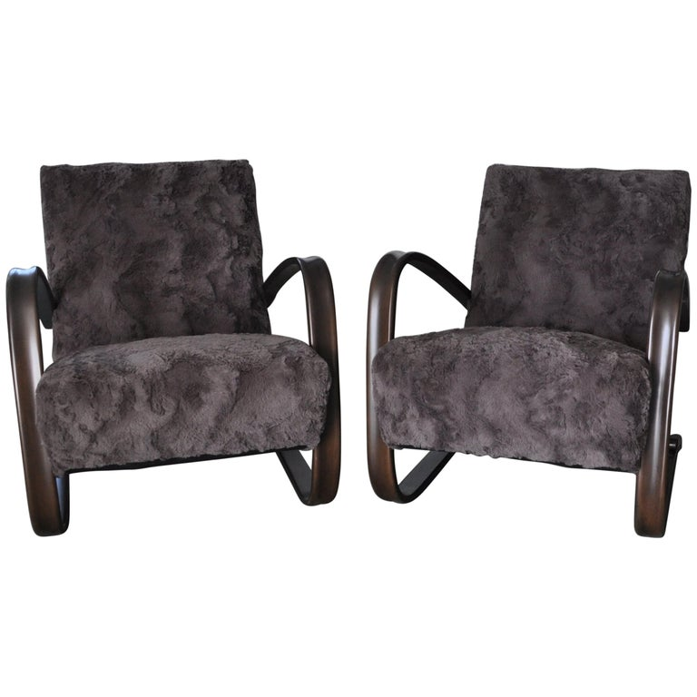 Pair of Armchairs by Jindrich Halabala For Sale