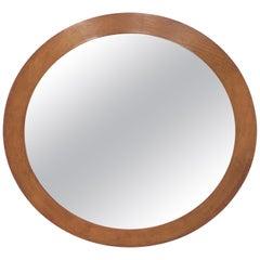 Round Danish Solid Teak Wall Mirror, 1960s