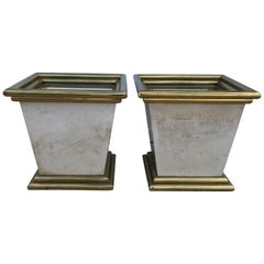 Large 1970s Italian Brass and Travertine Planters, Pair