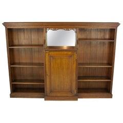 Solid Oak Bookcase, Open Bookcase, Victorian Tiger Oak, Scotland, 1890