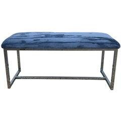 1970s Milo Baughman Chrome Bench in Scalamandre Blue Mohair