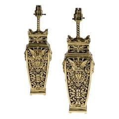 Antique Beaux Arts Brass Table Lamps