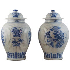 Pair of Antique Chinese Blue and White Ginger Jars