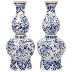 Pair of Tall Blue White Delft Vases