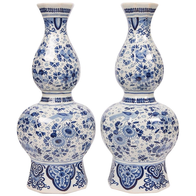 Pair Of Tall Blue White Delft Vases For