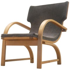 Midcentury Scandinavian Design Relax Chair in Plywood and Grey Textile